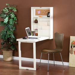 Wildon Home � - Adams Fold Out Convertible Writing Desk - An ideal solution for any room, this winter white writing desk folds away neat and compact. Fold the desk down and you reveal a convenient storage area with two adjustable shelves, bill organizers and a corkboard. Whether you choose to use this is your home office, living room, bedroom or dorm, you are sure to be pleased with the amazing functionality of this fold out desk. Features: -Convertible desk.-Two adjustable shelves.-Convenient wall mount design.-Constructed of birch veneer and MDF.-Distressed: No.-Collection: Adams.Dimensions: -Top shelf dimensions: 9'' H x 20'' W x 4'' D.-Dimensions: 32'' Height x 22'' Width x 6'' Depth.-Overall Product Weight: 52lbs.Assembly: -Assembly required.Warranty: -Manufacturer provides one year warranty.