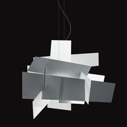 Foscarini Big Bang Chandeliers | YLighting - This geometric light fixture is almost more mobile than pendant light. The intersecting planes of methacrylate direct the glow and enhance the light.