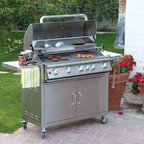 Bull Outdoor Products - Bull Brahma BBQ Grill Cart Multicolor - 55000LP - Shop for Grills from Hayneedle.com! Take the bull by the horns - fire up the Bull Brahma Gas Grill with Cart and show the meat who's the master. This state-of-the-art stainless steel grilling machine boasts 5 bar burners at 15 000 BTUs each and a rear infrared burner with an additional 15 000 BTUs for a total of 90 000 BTUs of custom-controlled heat. With a huge primary cooking surface of 760 square inches augmented by a 266-square-inch warming rack above this grill is ideal for tackling large cooking projects at home or commercially. Mounted on a custom-fit matching stainless steel cart the Brahma comes with a slew of extras and accessories that the grilling gourmand can't live without. Keep reading for a full list of features and add-ons on this awesome grill. Key features of the Bull Brahma Gas Grill with Cart: 16-gauge 304 brushed stainless steel construction - grill head and cart 5 stainless steel bar burners at 15 000 BTUs each 1 infrared rear burner with 15 000 BTUs 6 Bull Sure-Lite gas valves for reliable safe performance 6 heavy-duty push-to-turn knobs with built-in ignition Dual-lined roll-top hood with seamless welded edges Heavy-duty hi-temp thermometer built-into lid Stainless steel cooking grates - 760-square-inch primary cooking surface 266-square-inch stainless steel warming rack Full-size stainless steel drip tray Chrome-plated spit and rod for spit-style rotisserie cooking Stainless steel rotisserie motor Full-length stainless steel handle Hose and regulator included with LP model; GS regulator included with NG model Stainless steel cart with dual front drawers Four heavy-duty casters; 2 locking for safe movement and placement Two spacious side tables for prep work and serving Complete grill packs is CSA-certified and NSF-approved Complete dimensions: 64L x 25D x 48.5H inches Product warranty: Burners have a 20-year warranty. Grates carry a life-time warranty; remainder of pr