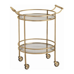 Arteriors Home - Arteriors Home Wade Antique Brass/Glass Bar Cart - Arteriors Home 6752 - Create an instant party. Inside or out this stunning serving cart is an extra set of hands. Stock it in the kitchen and roll it out to your guests. The mirrored borders on two shelves reflect your crystal glasses and bottles. And the sturdy rails hold everything in place. Drinks are served!