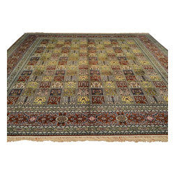 Silken Oriental Rug, Garden Design 9'X12' Hand Knotted 250 Kpsi Qum Rug SH13073 - Hand Knotted Silk Rugs are second to none when it comes to quality.  Silk fibers are much thinner allowing our weavers to maximum the knots per square inch in a rug.  This will escalate the labor as well as material in the rug.  These traits along with the cost of silk make hand knotted silk rugs some of the most expensive rugs in the world.