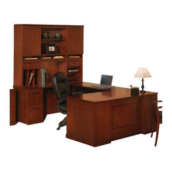 Mayline - Mayline Sorrento Executive U Straight Front Desk with Hutch Set-Bourbon Cherry - Mayline - Office Sets - ST8SCR -