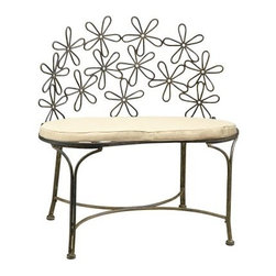 Deer Park Ironworks Daisy Bench - Brighten up any patio, porch, or garden path with the charming Deer Park Ironworks Daisy Bench. This bench is ideal for indoor or outdoor use and is made of heavy gauge steel and powder coated for all-weather durability. Protective rubber feet prevent marring while a cute daisy pattern seat-back adds a springtime cheer to any space.About Deer Park Ironworks, LLCYou'll immediately recognize a yard that's been appointed with pieces from Deer Park, thanks to the classic wrought iron designs and traditional finish that has made them an power player in the outdoor furniture industry. Dedicated to creating value for their customers with durable, quality pieces of functional and ornamental wrought iron, Deer Park continues to provide timeless designs while never sacrificing customer service and satisfaction as their pursue their corporate goals.
