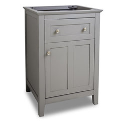 "Hardware Resources - VAN102-24 23-11/16"" Grey Chatham Shaker Vanity Base in Grey - 23-11/16"" Grey Chatham Shaker Vanity Base by Hardware Resources"