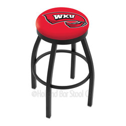 "Holland Bar Stool - Holland Bar Stool L8B2B - Black Wrinkle Western Kentucky Swivel Bar Stool - L8B2B - Black Wrinkle Western Kentucky Swivel Bar Stool w/ Accent Ring belongs to College Collection by Holland Bar Stool Made for the ultimate sports fan, impress your buddies with this knockout from Holland Bar Stool. This contemporary L8B2B logo stool has a single-ring black wrinkle base with a 2.5"" cushion and a black accent ring that helps the seat to ""pop-out"" at glance. Holland Bar Stool uses a detailed screen print process that applies specially formulated epoxy-vinyl ink in numerous stages to produce a sharp, crisp, clear image of your desired logo. You can't find a higher quality logo stool on the market. The plating grade steel used to build the frame is commercial quality, so it will withstand the abuse of the rowdiest of friends for years to come. The structure is powder-coated to ensure a rich, sleek, long lasting finish. Construction of this framework is built tough, utilizing solid mig welds. If you're going to finish your bar or game room, do it right- with a Holland Bar Stool. Barstool (1)"