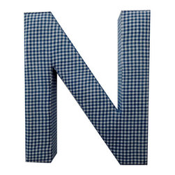 Fabric Wall Letters - Blue Gingham - All Uppercase Letters Available, Letter N - Choose our Blue Gingham fabric letters to create your own unique wall art or personalise your little child's bedroom or baby nursery.