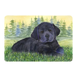Caroline's Treasures - Labrador Kitchen or Bath Mat 20 x 30 - Kitchen or Bath Comfort Floor Mat This mat is 20 inch by 30 inch. Comfort Mat / Carpet / Rug that is Made and Printed in the USA. A foam cushion is attached to the bottom of the mat for comfort when standing. The mat has been permanently dyed for moderate traffic. Durable and fade resistant. The back of the mat is rubber backed to keep the mat from slipping on a smooth floor. Use pressure and water from garden hose or power washer to clean the mat. Vacuuming only with the hard wood floor setting, as to not pull up the knap of the felt. Avoid soap or cleaner that produces suds when cleaning. It will be difficult to get the suds out of the mat.