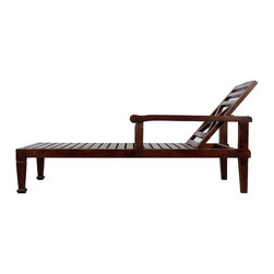 Wooden Beach Sofa - Dark Wood Finish - One of a kind beach sofa where you can lay down for good sun bath or read a book. It has a wooden high back with multi position adjustable incline. It is made from teak wood to last for years with minimal maintenance.