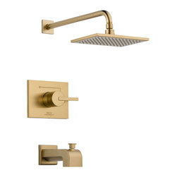 Delta Monitor(R) 14 Series Tub and Shower Trim - T14453-CZ - Inspired by slim lines and graceful arc of a ribbon, the Vero bath collection offers a high-end, modern look to the bath.