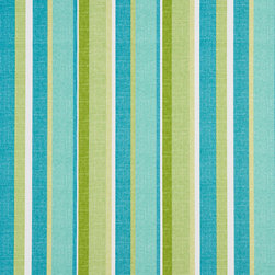 Green, Blue and White Striped Outdoor Indoor Upholstery Fabric By The Yard - This upholstery fabric suitable for indoor and outdoor applications. The fabric is water, soil, mildew and fading resistant. It is also Scotchgarded for further protection. It is cleanable with warm water and soap. Uniquely Made in America!