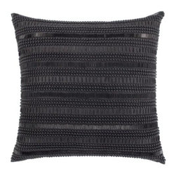 "Z Gallerie - Empire Pillow 20"" - Classically embellished, our Empire Pillow layers your décor with clean-lined and modernly detailed decorative distinction. Embroidered with various sized beads taking shape in the form of horizontal stripes, our Empire Pillow is as graphic as it is sophisticated. The generously sized 20 inch square pillow is filled with a sumptuous feather and down insert and a hidden zipper. Available in Venetian Blue, Mandarin, Silver, Charcoal, Ivory and Black."