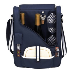 Picnic at Ascot - PInot Wine & Cheese Cooler for 2, Navy - Compact Thermal Shield insulated wine and cheese cooler includes: acrylic glasses, napkins, corkscrew, bottle stopper, cheese knife, and hardwood cutting board. This unique set holds two bottles and can be used as a three bottle carrier with glasses removed. Includes adjustable padded bottle dividers. Attractive slim profile case has a comfortable adjustable shoulder strap to carry. Designed and Assembled in the USA. Lifetime Warranty.
