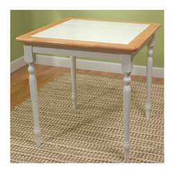 TMS - Dining Table - Dining Table Features: -Classic dining table.-Turned legs.-30'' Tile-Top.-Constructed from sturdy tropical wood and ceramic tiles.-White and Natural finish.-White tile table top finish.-Distressed: No.Dimensions: -Table is covered 6'' white ceramic tiles.-Dimensions: 29.5'' H x 29.5'' W x 29.5'' D.-Overall Product Weight: 44 lbs.