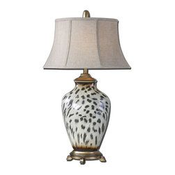 Uttermost - Malawi Cheetah Print Table Lamp - You might know someone who would shoo away a cat on a table. After seeing this superb lamp with its sophisticated cheetah print, they might rethink that course of action, as there are times when something feline on furniture just fits.