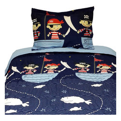 Store51 - Yo Ho Pirates Twin Comforter Pillow Sham Set - Features: