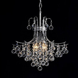 None - Namika 6-light Crystal and Chrome Chandelier - This Namika six-light crystal chandelier adds beauty and elegance to any decor. The light fixture features a chrome finish that shimmers amongst the crystals.