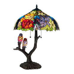 "Warehouse of Tiffany - Warehouse of Tiffany Sarah Camille Table Lamp - This sweet Tiffany-style stained-glass table lamp gets top ratings for its ability to inspire ""oohs"" and ""aahs"" from whoever sees it. It features a tree-shaped lamp base that is adorned by two birds. The shade is made from 787 pieces of cut glass."