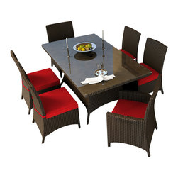 Forever Patio - Hampton 7 Piece Wicker Patio Dining Set, Chocolate Wicker and Ruby Cushions - The Forever Patio Hampton 7 Piece Wicker Outdoor Dining Set with Red Sunbrella cushions (SKU FP-HAM-7DN-CH-FF) creates the perfect contemporary look for dining on your patio or deck. The set seats 6 adults comfortably, and includes 4 dining side chairs, 2 dining armchairs and a dining table with a glass top. This set features Chocolate resin wicker, which is made from High-Density Polyethylene (HDPE) for outdoor use. Each strand of this outdoor wicker is infused with the rich color and UV-inhibitors that prevent cracking, chipping and fading ordinarily caused by sunlight, surpassing the quality of natural rattan. This wicker dining set is supported by thick-gauged, powder-coated aluminum frames that make it extremely durable and resistant to corrosion. Also included are fade- and mildew-resistant Sunbrella cushions. Whether you are enjoying brunch, lunch or dinner, you will always dine in style with this wonderful looking outdoor patio dining set.