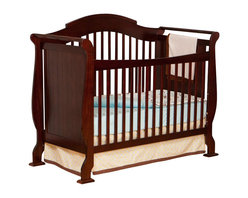 Stork Craft - Stork Craft Valentia 4-in-1 Fixed Side Convertible Crib in Cherry - Stork Craft - Cribs - 04587254 - The Valentia Fixed Side Convertible Crib surrounds your little darling in comfort and style with this beautiful sleigh designed crib.Curved edges flowing lines and a gorgeous white finish create a crib that even royalty would adore. With secure static side rails and an adjustable one piece mattress support base this piece provides crucial stability and function. This crib is not only delightful but it is a smart investment; converting from a standard crib to a toddler and daybed but ultimately into a full-size bed complete with headboard and footboard (full size bed rails not included). Set-up this royal piece with ease by following the simple easy to follow assembly instructions provided by Stork Craft. Complete your nursery look by adding a Stork Craft changing table chest dresser or glider and ottoman.