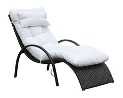Lemoderno - Fine Mod Imports  Otello Outdoor Lounge Chair, White - Wicker outdoor lounge chair, Looks beautiful on your deck, the perfect place to relax and enjoy. Thick padded cushion included.