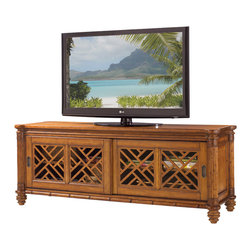 Lexington - Lexington Island Estate Nevis Media Console 531-909 - For larger televisions, the two pierced lattice sliding doors with two adjustable shelves create a wider base unit and provide more room for the multiple media components available in today's home entertainment environment.