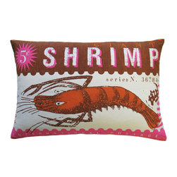 """KOKO - Postage Pillow, Shrimp Print, 13"""" x 20"""" - You don't have to love seafood to appreciate a fun image like this. The colors in this vintage stamp pillow are bright and fun. And can you imagine a time when it only cost 5 cents to mail a letter?"""