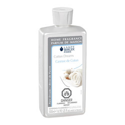 Lampe Berger - Cotton Dreams, Clear, 500ml - Evokes the familiar smell of clean, this airy fragrance is made of fresh Marseille soap and bergamot which go well with the lavender and pine tree aromatic scents
