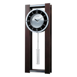 RHYTHM - Espresso II Contemporary Musical Wall Clock - Ultra modern in its design, the Espresso II is finished in a rich espresso stain