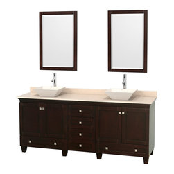"Wyndham Collection - 80"" Acclaim Double Vanity w/ Ivory Marble Countertop & Pyra Bone Porcelain Sink - Sublimely linking traditional and modern design aesthetics, and part of the exclusive Wyndham Collection Designer Series by Christopher Grubb, the Acclaim Vanity is at home in almost every bathroom decor. This solid oak vanity blends the simple lines of traditional design with modern elements like beautiful overmount sinks and brushed chrome hardware, resulting in a timeless piece of bathroom furniture. The Acclaim comes with a White Carrera or Ivory marble counter, a choice of sinks, and matching mirrors. Featuring soft close door hinges and drawer glides, you'll never hear a noisy door again! Meticulously finished with brushed chrome hardware, the attention to detail on this beautiful vanity is second to none and is sure to be envy of your friends and neighbors"