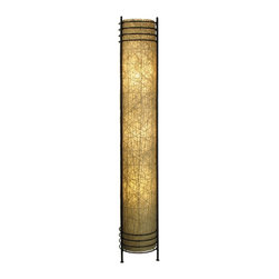 """Lamps Plus - Asian Eangee Abaca Tower Floor Lamp - The outer rope-like portion of this distinctive floor lamp is crafted from abaca fiber; the inner portion is crafted from handmade abaca paper. The natural abaca meshes seamlessly with the wrought iron frame. Powder coat finish. Wrought iron frame. Abaca paper shade. Abaca rope accents. Takes three 40 watt bulbs (not included). On-off foot switch. 9"""" wide. 48"""" high.  Powder coat finish.   Wrought iron frame.   Abaca paper shade.   Abaca rope accents.   Takes three 40 watt bulbs (not included).   On-off foot switch.   9"""" wide.   48"""" high."""