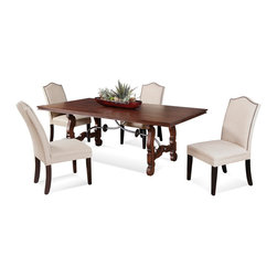 Bassett Mirror Company - Bassett Mirror Watson 5 Piece Trestle Dining Room Set in Fruitwood - 5 Piece Trestle Dining Room Set in Fruitwood belongs to Watson Collection by Bassett Mirror Company Cherry veneers and hardwood solids in a brown cherry finish. Dining Table (1), Parsons Chair (4)