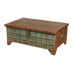 Blue Captain's Stash Old Wood Coffee Table Chest - Back when tall ships sailed the seas and fortunes were made on the spice route, the captain of the ship owned a special trunk called his stash. He was allowed to keep as much of the very best tea and spice he could fit into his stash. Capture the romance of those seafaring days with the Blue Captain's Stash Coffee Table Chest.