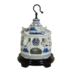 "Oriental Furniture - 11"" Landscape Blue and White Porcelain Bird Cage - A unique home decor accent featuring a blue and white mountain landscape and protruding porcelain birds. Crafted from fine quality porcelain ceramic, with a fitted steel hanger. Bird cages were symbols of good luck in ancient East Asia. Display on a hook on a wall or ceiling, or as a curio on a shelf unit or breakfront. These pieces serve as memorable gifts for birthdays, housewarmings, weddings, and anniversaries."