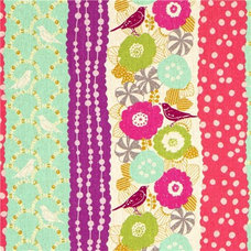 Fabric echino canvas fabric birds stripes turquoise from Japan