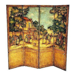 Pre-owned 'The Mall of London' Four Panel Painted Screen - An intricately hand painted four panel leather room screen depicting 'The Mall London' from the medieval times. It has a painted back, double hinged panels, and overall is in excellent condition. Just 2-3 scuffs to be touched up before delivery!
