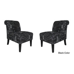 Armen Living - Armen Living Modern Black Architectural Fabric Accent Chair (Set of 2) - Armen Living - Accent Chairs - LC7107CLBL