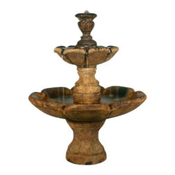 Finial Fountain, Natural - *Please Note: Our color chart is for example purposes only. Monitor settings and how the finish is applied to these outdoor water fountains can vary to what is shown in the color chart.  Actual stone samples of each finish can be purchased to help you make your finish choice.