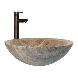 Round Polished Travertine Vessel Sink - Made of natural, hand-carved travertine, this vessel sink features a glossy, smooth texture both inside and out. This eye-catching piece is sure to be the focal point of your bathroom.