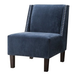 Hayden Armless Chair, Blue Velvet with Nailheads - I always love nailhead trim in home decor, and this modern and masculine chair comes with an extra bonus: velvet!