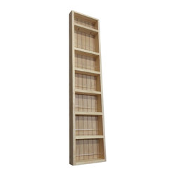 None - Pine Wood 48-inch On-the-wall Spice Rack II - This 48-inch On-the-wall Spice Rack II can be mounted on a wall,or the side of a cabinet,and includes a beadboard back panel and clear acrylic dowels in front of each shelf. This spice rack offers a natural pine finish that can be painted or stained.