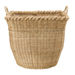 "Baskets & Organizers - This x-large basket is is hand woven from Wicker and has a large capacity to hold numbers of pillows, your coverlet, throws, logs, toys, dirty laundry and much more. The dimensions are 24"" square at the top and 20"" high (with handles 23"")."