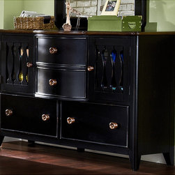 None - Jaxon 4-door Dresser - The youthful style of the Jaxon door dresser is the perfect choice for your home. This four-door dresser doubles as an entertainment dresser with plexiglass on the back of the doors so the remote control will operate your electronics.