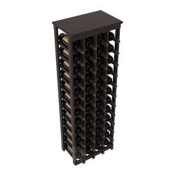 "48 Bottle Kitchen Wine Rack in Redwood with Black Stain + Satin Finish - Store 4 complete cases of wine in less than 20"" of wall space. Just over 4 feet tall, this narrow wine rack fits perfectly in hallways, closets and other ""catch-all"" spaces in your home or den. The solid wood top serves as a shelf or table top for added convenience and storage of nick-nacks."