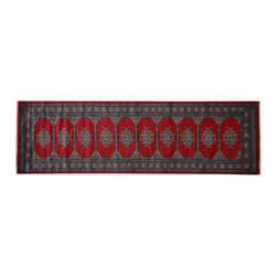 Red Turkoman Bokara Runner Hand Knotted 100% Wool 3'x10' Oriental Rug SH15128 - This collections consists of well known classical southwestern designs like Kazaks, Serapis, Herizs, Mamluks, Kilims, and Bokaras. These tribal motifs are very popular down in the South and especially out west.