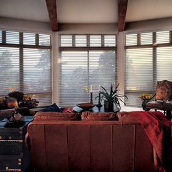 Nantucket™ Window Shadings - Formal Family Room - Dressed with Hunter Douglas Nantucket Window Shades. Perfect for large windows.