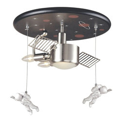 """Elk - Kids Space Station 16"""" Wide Ceiling Light Fixture - Why settle for an ordinary ceiling light for your child's room when you can give them a little bit of the stars? This design features a space station center light complete with two astronauts and energy panels. Candelabra bulbs double as rocket blasts. Chrome finish. Painted ceiling mount. Takes two 60 watt candelabra bulbs and one 60 watt bulb (bulbs not included). 16"""" in diameter. 10"""" high.  Chrome finish.  Takes two 60 watt candelabra bulbs (not included).   Takes one 60 watt bulb (not included).   16"""" in diameter.  10"""" high."""