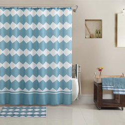None - Preston 17-piece Bath in a Bag Set - Enhance your modern bathroom decor with this beautiful Preston 17-piece bath in a bag set. Featuring a simple geometric design,this set includes a shower curtain,13 hooks,two towels and a rug.