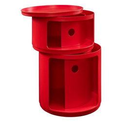 Modway - Orbit Storage Module, Red - Now you see it, now you don't. In a perfect blend of visual effects and sliding hatches, Orbit shows you why decor shouldn't end with the trash can. Whether for your recyclables or not, the compact cylindrical design imparts a sense of futurism to your room. Made of resilient ABS plastic, complete your modern home or office with a contemporary piece that livens up even the most basic of utilities.