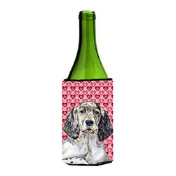Caroline's Treasures - English Setter Hearts Love Valentine's Day Portrait Wine Bottle Koozie Hugger - English Setter Hearts Love and Valentine's Day Portrait Wine Bottle Koozie Hugger Fits 750 ml. wine or other beverage bottles. Fits 24 oz. cans or pint bottles. Great collapsible koozie for large cans of beer, Energy Drinks or large Iced Tea beverages. Great to keep track of your beverage and add a bit of flair to a gathering. Wash the hugger in your washing machine. Design will not come off.