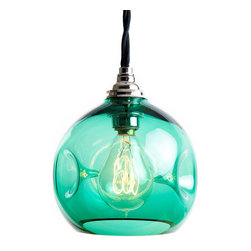 """Source Lighting - Mini Implosion, Emerald - These bring a modern twist to the classic globe pendant. Handblown in the U.S., these are designed to bring a splash of color to contemporary spaces. The 5"""" globes mini pendants hanging from cloth covered cord look great in groupings over bars and are just as brilliant standing alone. All hardware needed for installation (Chrome candelabra base, 6' black cloth wound cord, 5"""" chrome canopy & mounting hardware) and the suggested bulb (in photo) is supplied with each order."""